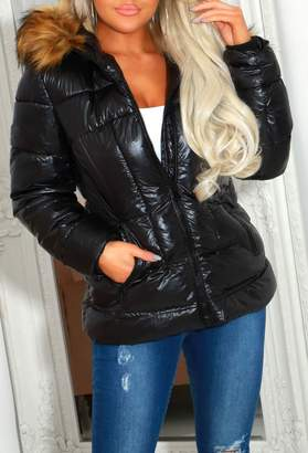 Pink Boutique Ivy Black High Shine Padded Coat With Fur Hood