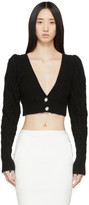 Wandering Black Cable Knit Cropped Cardigan