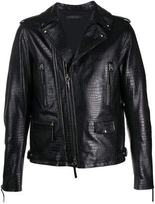 Giuseppe Zanotti croc embossed leather jacket