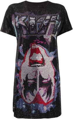 Philipp Plein rock band printed T-shirt dress