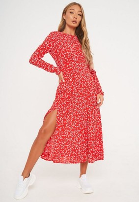 Missguided Red Floral Print Ruched Bust Midi Dress