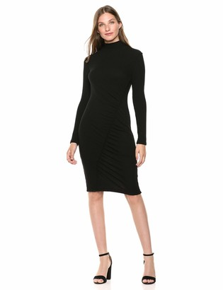 Splendid Women's Mock Neck Long Sleeve Dress with Ruched Side