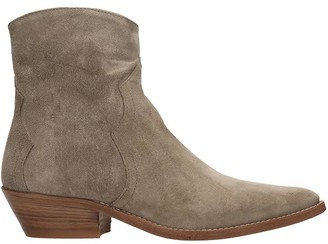 Julie Dee Texan Ankle Boots In Taupe Suede