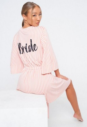 Missguided Pink Stripe Bride Dressing Gown