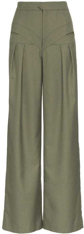 Situationist high-waisted cut out wool trousers