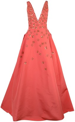 Carolina Herrera Floral Embellished Gown