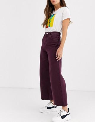 ASOS DESIGN premium wide leg jeans in aubergine