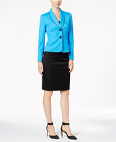 Le Suit Shawl-Collar Colorblocked Skirt Suit