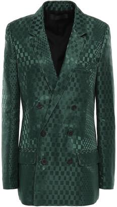 Haider Ackermann Double-breasted Linen And Silk-blend Satin-jacquard Blazer