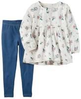 Carter's Toddler Girl Floral Top & Faux-Denim Leggings Set
