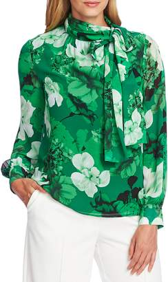 Vince Camuto Melody Floral Tie Neck Long Sleeve Chiffon Blouse