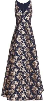 Badgley Mischka Flared Brocade Gown