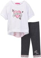 Betsey Johnson Rose Burnout Heart Top & Lace Trim Legging Set (Little Girls)