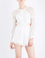 Zimmermann Divinity Scallop Ruffle silk-georgette playsuit