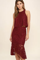 LuLu*s Le Grand Amour Dark Red Lace Two-Piece Dress