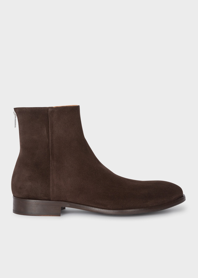 Paul Smith Men's Dark Brown Suede 'Jean' Zip Boots