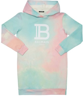 Balmain Hooded Tie Dye Cotton Sweat Dress