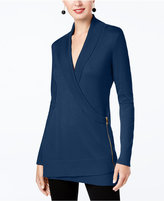INC International Concepts Zip-Up Sweater Tunic, Created for Macy's