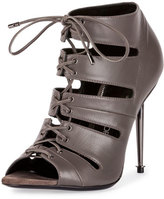 Tom Ford Open-Toe Lace-Up 105mm Bootie, Graphite