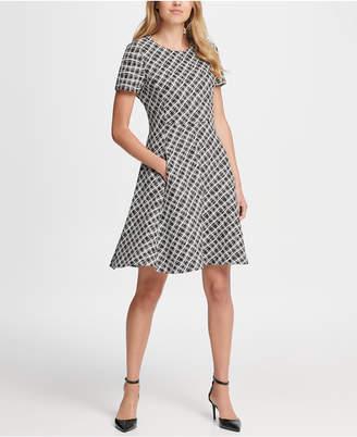 DKNY Wavey Plaid Short Sleeve Fit & Flare Dress