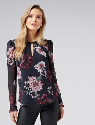Forever New Lucie Puff Sleeve Keyhole Blouse - pink peony - 8