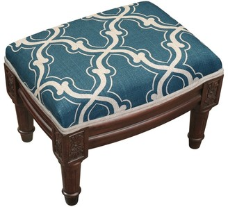 Copper Grove Castletown Blue Upholstered Wood Footstool with Trellis Accents