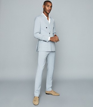 Reiss Exquisite - Wool-blend Double-breasted Blazer in Soft Blue