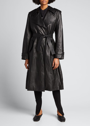 Bassike Leather Trench Coat