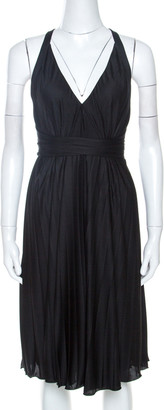 Gucci Black Jersey Crossover Pleated Dress XS