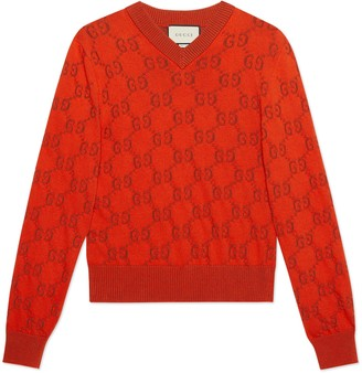 Gucci GG cotton jacquard V-neck jumper
