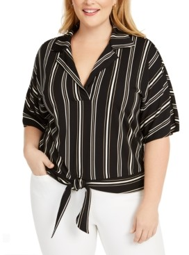 Alfani Plus Size Striped Tie-Front Top, Created for Macy's