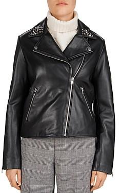 Gerard Darel Nathan Studded Leather Biker Jacket