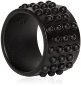 Alexander McQueen Studded Metal Ring With Black Finish