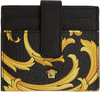 Versace Black and Yellow Barocco Medusa Card Holder