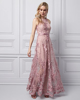 Le Château 3D Floral Halter Gown