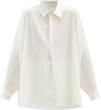 eskandar Drop-shoulder Silk-crepe Blouse - White