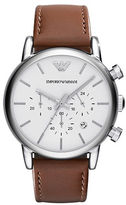 Emporio Armani Mens Stainless Steel Round Watch with Leather Strap