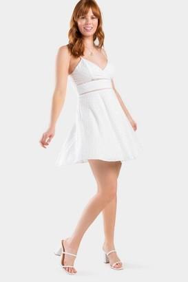 francesca's Isabella Eyelet Skater Dress - White