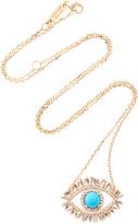 Suzanne Kalan 18K Gold, Diamond and Turquoise Eye Necklace