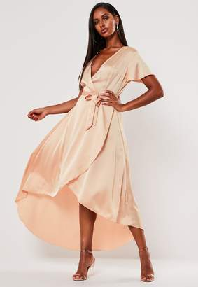 Missguided Peach Satin High Low Wrap Midi Dress