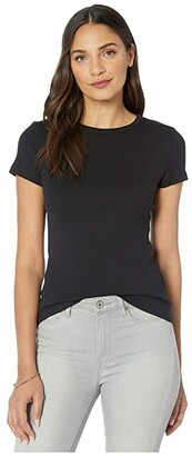 Lilla P 1x1 Rib Short Sleeve Crew Neck T-Shirt (Black) Women's Clothing