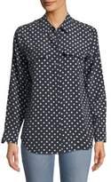 Equipment Dot-Print Button-Front Silk Slim Signature Shirt