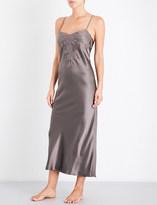 Marjolaine Lace-trim silk-satin chemise