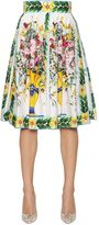 Dolce & Gabbana Bouquet Printed Cotton Poplin Midi Skirt