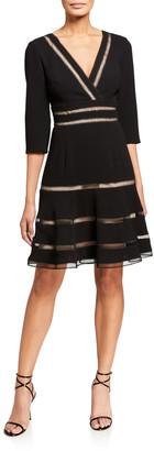 Shani Surplice 1/2-Sleeve Crepe Fit-&-Flare Dress w/ Trim