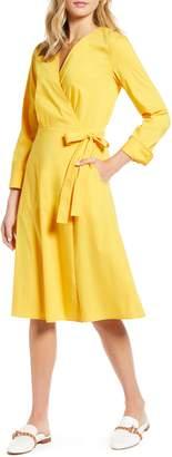 1901 Poplin Long Sleeve Wrap Dress