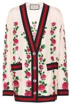 Gucci Cardigan en soie imprimée Rose