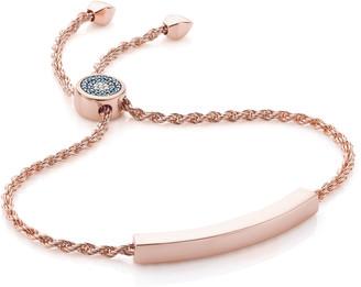 Monica Vinader Linear Evil Eye Toggle Bracelet - Blue & White Diamonds