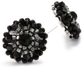 Miguel Ases Jet Bead and Sterling Silver Small Button Earrings
