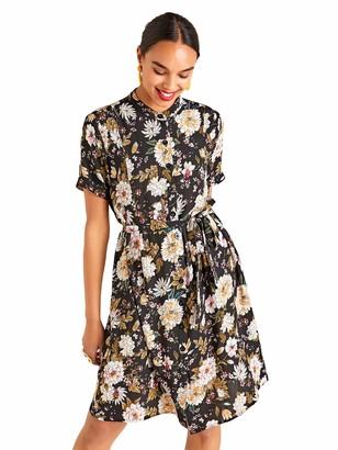 Yumi Japanese Print Shirt Dress Black